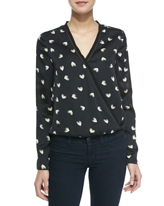 Theresa Love Me Print Cross-Front Blouse, Black/Beige