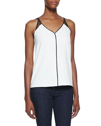 Elodie Lace-Detailed Leather Trimmed Tank, Ivory/Black