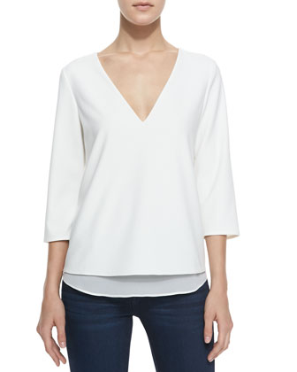 Susan V Cutout Zip Detail Blouse, Ivory