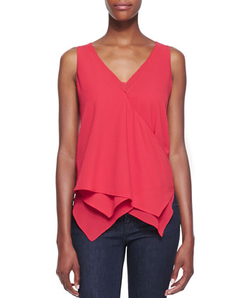 Chelsea Peaked Wrap Combo Tank, Deep Red