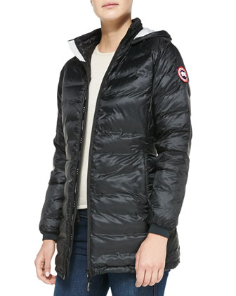 Camp Hooded Mid-Length Puffer Jacket, Black