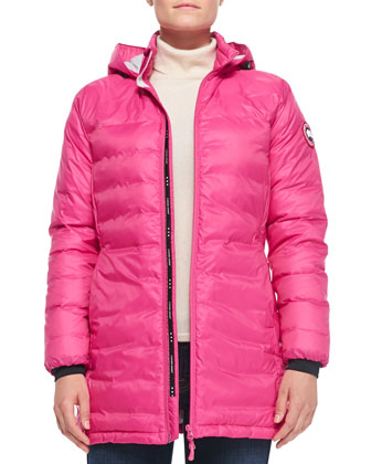 Camp Hooded Mid-Length Puffer Jacket, Summit Pink