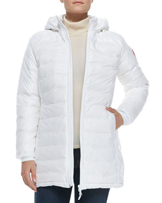 Camp Hooded Mid-Length Puffer Jacket, White