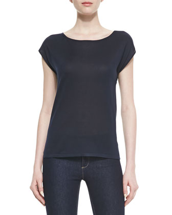 Fine Silk Bi-Level Tee, Midnight