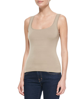 Super Cashmere Square-Neck Shell Top, Hemp