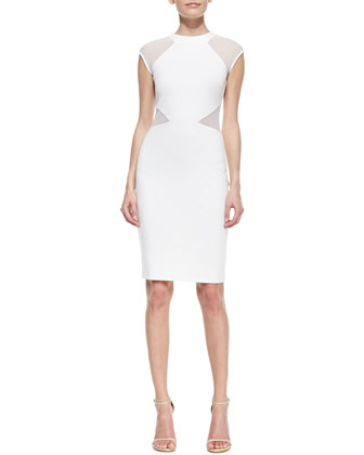 Viven Mesh Paneled Sheath Dress, White