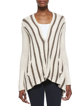 Striped Drape-Back Cardigan