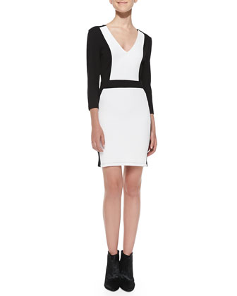 Colorblock Pique Body-Conscious Dress, Black/White