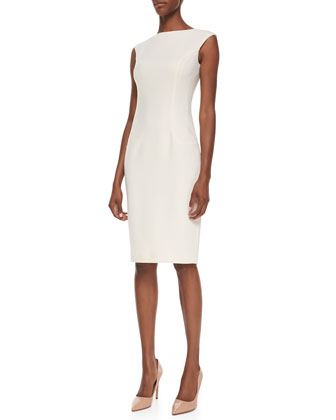 Elliptical Boucle Sheath Dress, Optic White