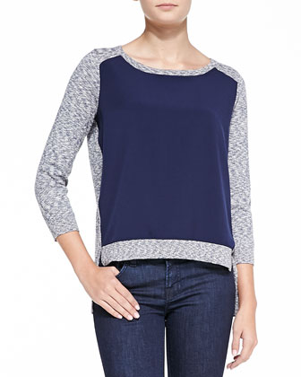 Odette Slub-Knit Combo Sweater, Blue