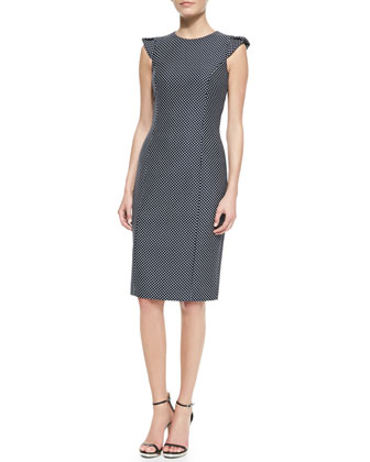 Pindot Jacquard Cap-Sleeve Sheath, Midnight-White