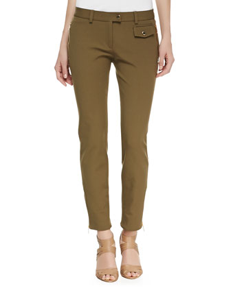 Twill Zip-Pocket Pants, Military