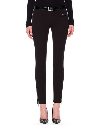 Twill Zip-Pocket Pants, Black
