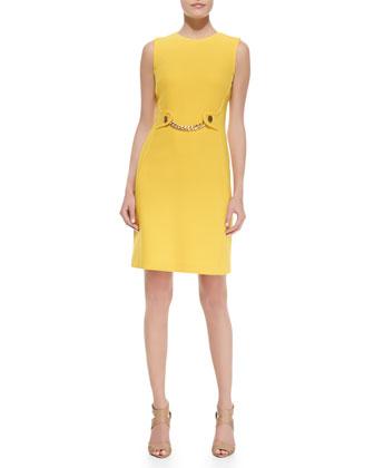 Boucle Sleeveless Shift Chain-Front Dress, Sun