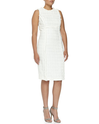 Shimmer Tweed Sheath Dress, Optic White, Women's