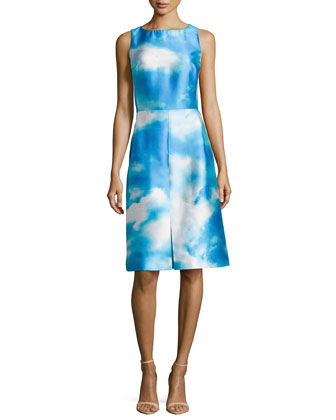 Cloud-Print Shantung Dress