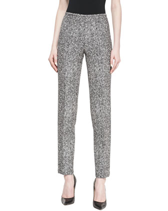 Tweed Slim Straight-Leg Pants