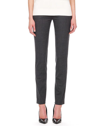 Samantha Skinny Tropical Wool Pants, Charcoal