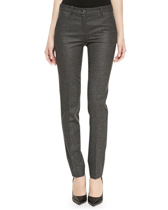 Samantha Skinny Flannel Pants, Charcoal
