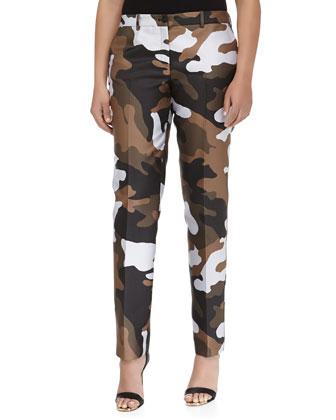 Samantha Skinny Camouflage Jacquard Pants, Olive