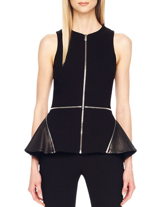 Zip-Detail Peplum Top