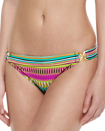 Plumas Side-Buckle Printed Swim Bottom
