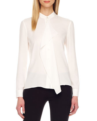 Drape-Front Silk Blouse, White