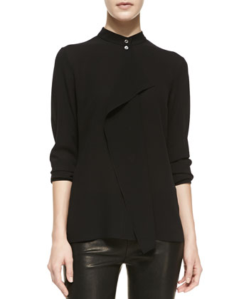 Drape-Front Silk Blouse, Black