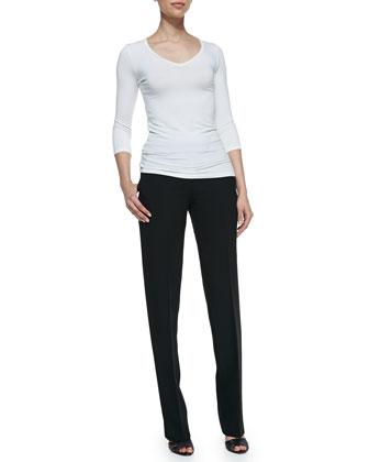 Straight-Leg Trousers, Black