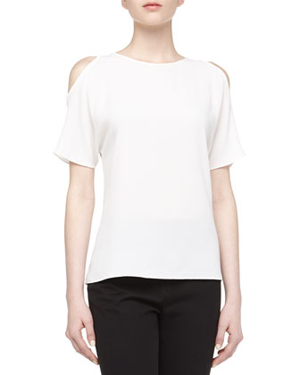 Cold-Shoulder Georgette Tee, Optic White