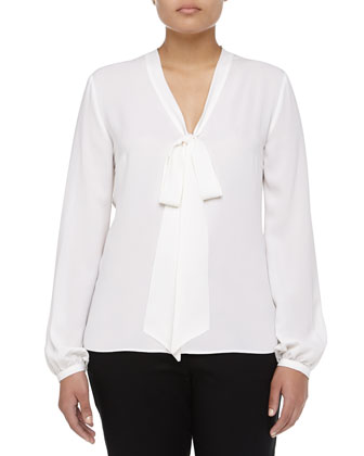 Long-Sleeve Self-Tie Georgette Blouse, Women's