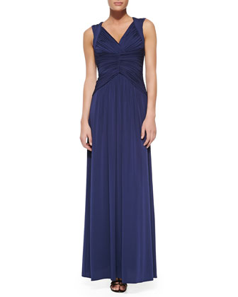 Sophia Jersey Ruched & Pleated Sleeveless Gown
