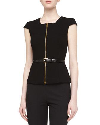 Zip-Front Belted Top, Black