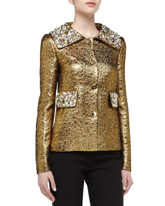Rhinestone Studded Brocade Jacket, Gold