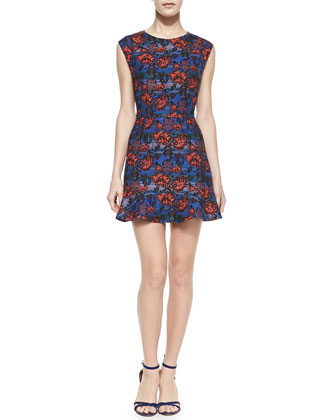 Cap-Sleeve Floral Flounce-Hem Mini Dress