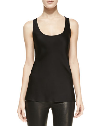 Relaxed Satin Tank, Black