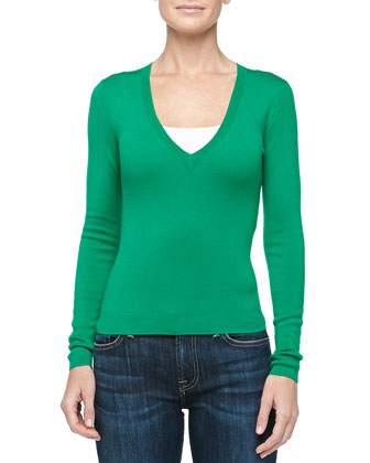 V-Neck Super Cashmere Sweater, Emerald