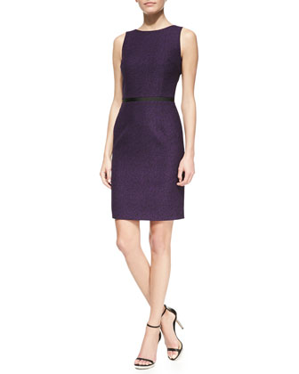 Sleeveless Twill Jacquard Sheath Dress