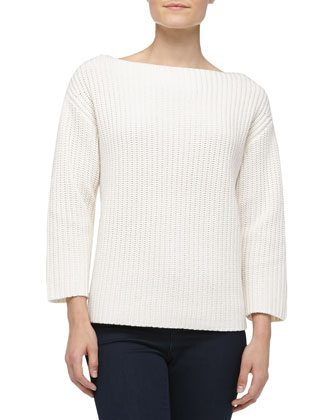 Boxy Cashmere Shaker-Knit Sweater, Optic White