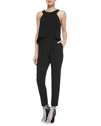 Kaitlyn Crepe Sleeveless Jumpsuit