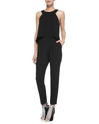 Kaitlyn Crepe Sleeveless Jumpsuit