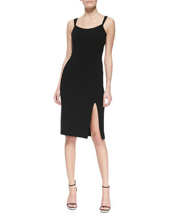 Crepe Tank Sheath Dress With Slit