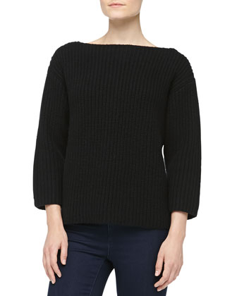 Boxy Cashmere Shaker-Knit Sweater, Black
