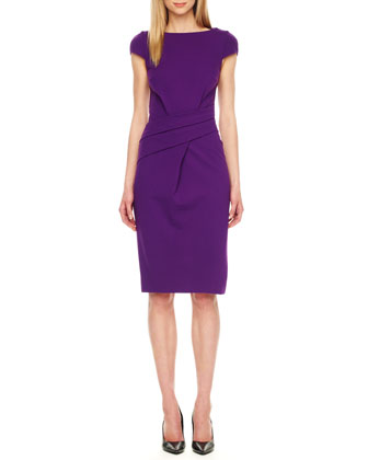 Wrap-Waist Ponte Dress, Grape