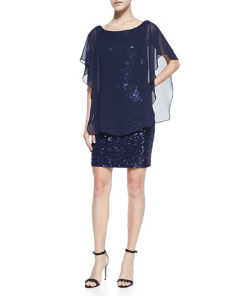 Sequined Cocktail Dress with Chiffon Popover