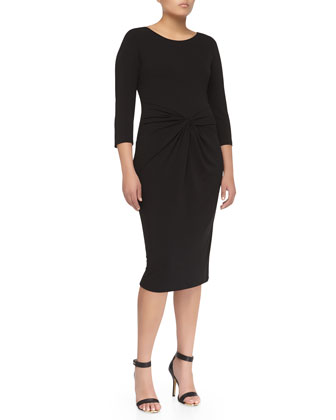 Twist-Front Sheath Dress, Black