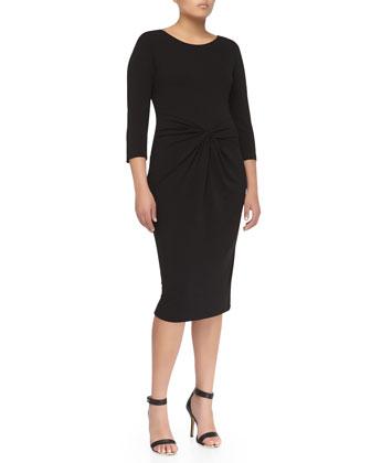 Twist-Front Sheath Dress, Black
