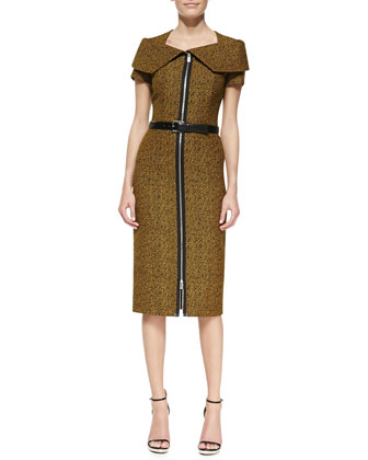 Portrait-Collar Tweed Sheath Dress