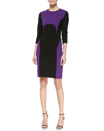 Two-Tone Ponte Dress, Grape