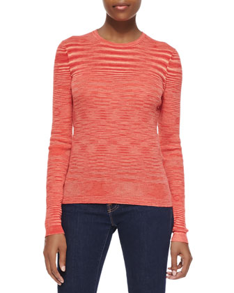 Space-Dye Cashmere Sweater, Coral